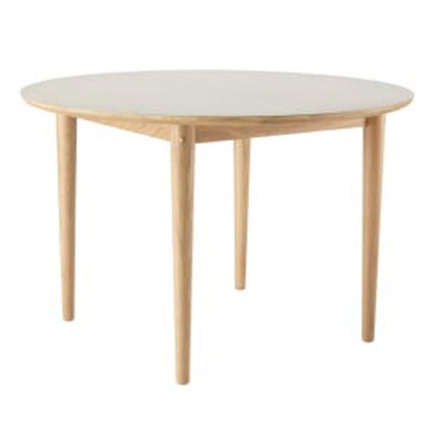Unit10 spisebord med udtræk - C62E Bjørk - Eg/grå linoleum på tilbud til 10999 kr.