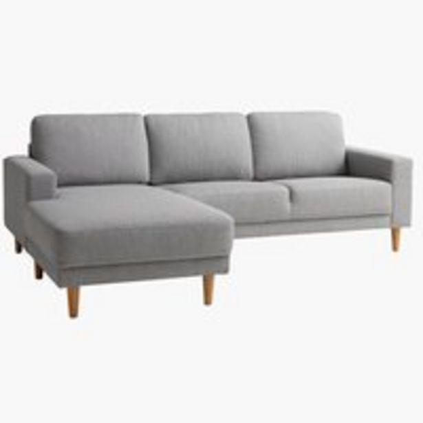Sofa EGENSE chaiselong lysegrå på tilbud til 3499 kr.
