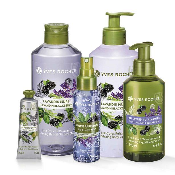 Sæt - Lavendel (brusegelé, lotion, mist, sæbe) + Oliven (håndcreme) på tilbud til 269 kr.